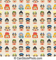 人們, 圖案, seamless, 臉, 工作, 卡通