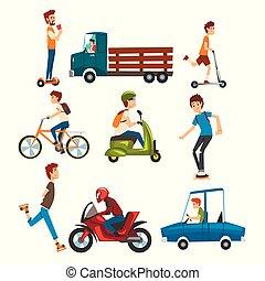 人們, 在街道上, 集合, 各種各樣, 車輛, 卡通, 矢量, 插圖, 上, a, 白色 背景