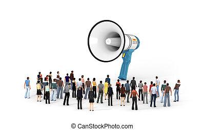 人們, 大約, megaphone., 3d, 微小, 站立, 插圖, 大