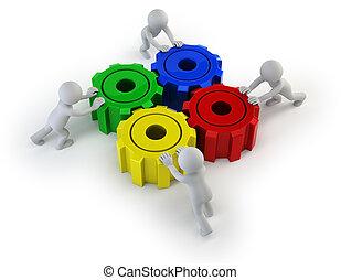 人們, 大, 轉動, -, 齒輪, 小, 3d