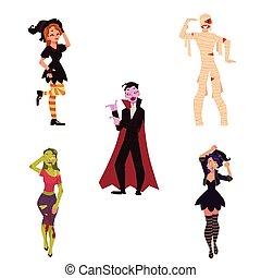 人們, 媽咪, 蛇神, -, 服裝, dracula, 黨, 巫婆, 万圣節, 吸血鬼