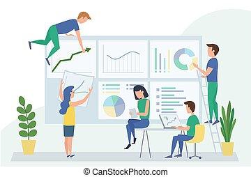 人們, 工作, 儀表板, graphs., situations., 插圖, 相互作用, 管理, 矢量, 數据, 概念, 分析, 設計, 工作流程, 隊, 辦公室