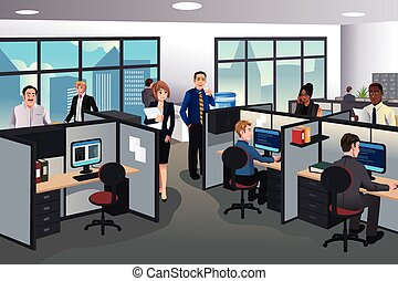 人們, 工作, 在, 辦公室