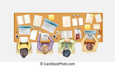 人們, 工作, 書桌