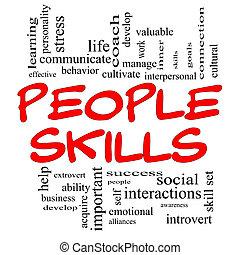 人們, 技能, 詞, 雲, 概念, 在, 紅色, 帽子