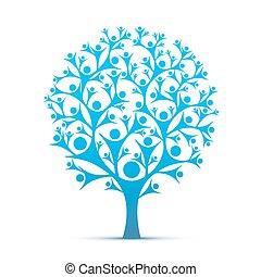 人們, 樹, 簽署, 顏色, blue.