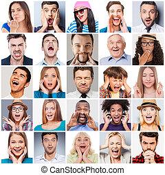 人們, 混合, emotions., 不同, 範圍, 年齡, 拼貼藝術, 感情, 表達, 多种多樣, 多少數民族成員