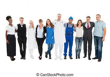 人們, 由于, 各種各樣的 職業, 站立, 一起