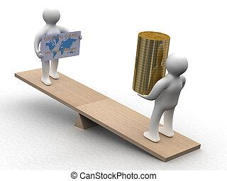人們, 由于, 現金, 以及, a, 信用卡, 上, weights., 3d, 圖像
