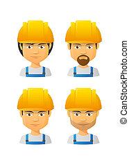 人們, 穿, avatar, 集合, 帽子, 工作