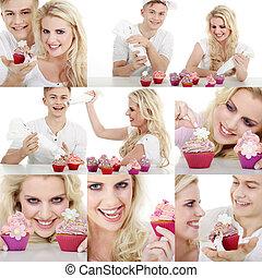 人們, 笑, 由于, cupcake, 拼貼藝術