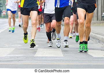 人們, 跑, 在, 城市, 馬拉松