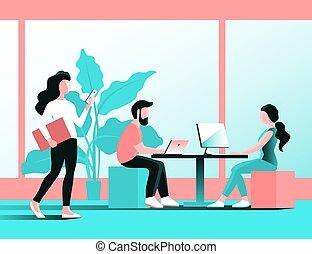 人們, 辦公室, 年輕, 工作, computer.