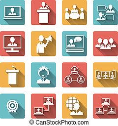 人們, 集合, 會議, 商務圖標