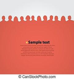 人們, 頭, 黑色半面畫像, 紅色, 背景。