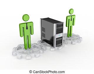 人們, computer., 齒輪, 個人, 3d, 小