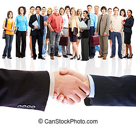 人們, handshake., 事務, meeting.