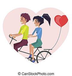 人和妇女, 摆脱自行车, 矢量, 描述