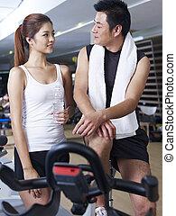 人和婦女談話, 在, 體操