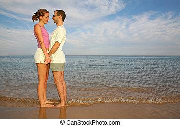 人和婦女, 上, a, 海灘