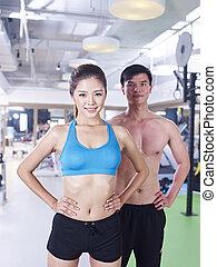 人和婦女, 在, 體操