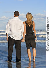 人和婦女, 扣留手的夫婦, 上, a, 海灘
