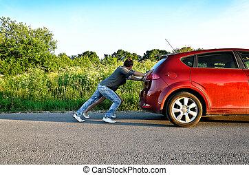 人和婦女, 推, a, 打破, 汽車