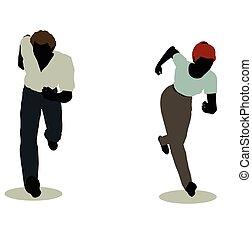 人和婦女, 黑色半面畫像, 在, 站立, 跑