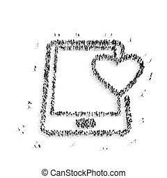 人在, 形狀, ......的, a, 片劑, 心