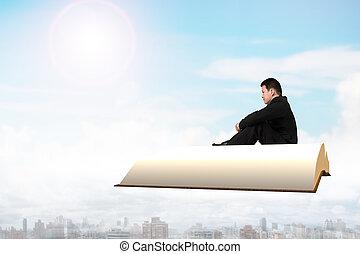 人坐, 在上, 书, 飞行结束, 城市