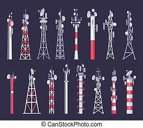人工衛星, ネットワーク, tv, コミュニケーション, シグナル, 無線, ベクトル, ラジオ, tower., antena, 映像