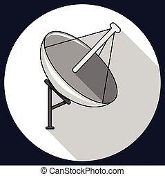 人工衛星, ベクトル, communication., satellite., イラスト