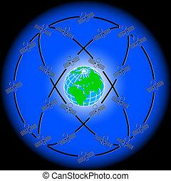 人工衛星, 変人, スペース, earth., のまわり, 軌道