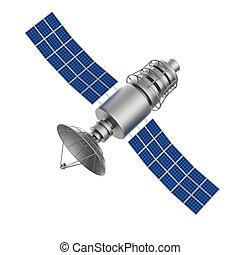 人工衛星, 隔離された, イラスト, バックグラウンド。, 白, 3d