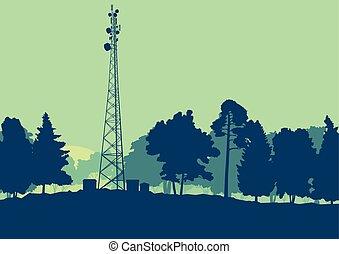 人工衛星, 電気通信, テレビのアンテナ, ベクトル, 森林, 背景, 皿, タワー, 風景