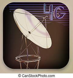 人工衛星, illustration., 型, 皿, 3d, style., アイコン