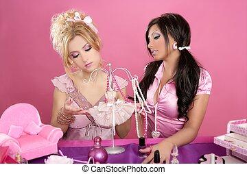 人形, テーブル, barbie, 虚栄心, ピンク, ファッション・デザイナー, 女の子