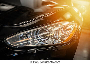 人物面部影像逼真, 上, an, 前燈, ......的, a, 黑色, 運動, 汽車
