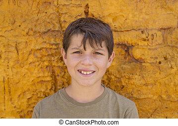 人物面部影像逼真, ......的, 漂亮, 年輕, 青少年男孩子, 微笑