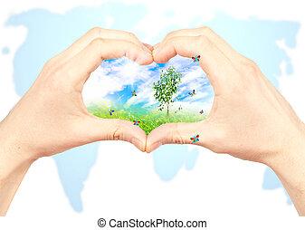 人的手, 以及, 自然, 上, 世界地圖, 背景。