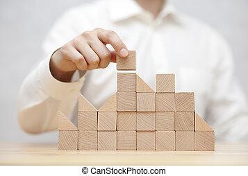 人的手, 堆積, 木制, blocks., 商業發展, 概念