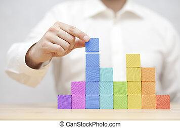 人的手, 堆積, 鮮艷, 木制, blocks., 商業發展, 概念