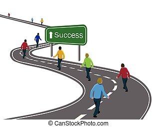 人的組, 步行, 上, 彎曲, 瀝青柏油路, 高速公路, 到, the, 綠色, 簽署, 成功, 由于, 白色, 箭, 概念, ......的, 方式, 到, 成功, 達到, 目標, 隊, 合作, 胜利, 或者, 旅行