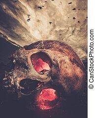 人的頭骨, 由于, 發光, 眼睛, 針對, 有暴風雨的天空