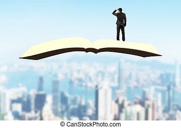 人站, 同时,, 凝视, 在上, 书, 飞行结束, 城市