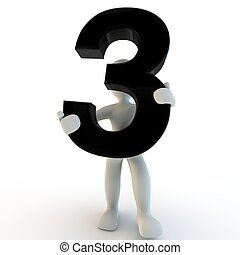 人类人们, 性格, 数字, 黑色, 握住, 3, 小, 3d