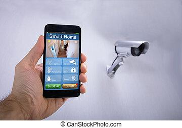 人类手, 使用, 聪明, 家, 应用, 在上, smartphone