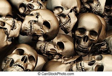 人类, 堆, skulls., 描述, 3d