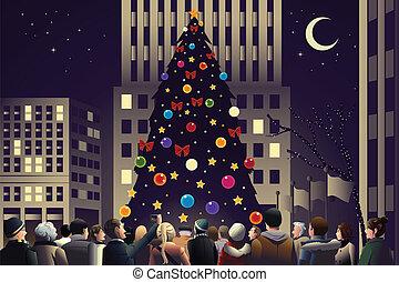 人群, 在城市, 近, 大, 點燃, 圣誕樹