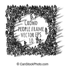 人群, 大, 团体, 人们, 框架, 黑色和, white.